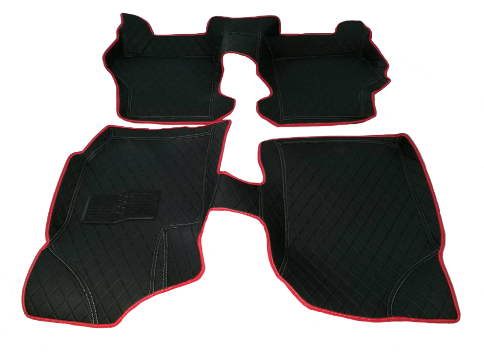 fullset black car mat with red lining